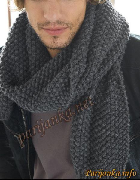 Вязаный мужской шарф , с жемчужным узором, красивый и запоминающийся подарок любимому мужчине к празднику