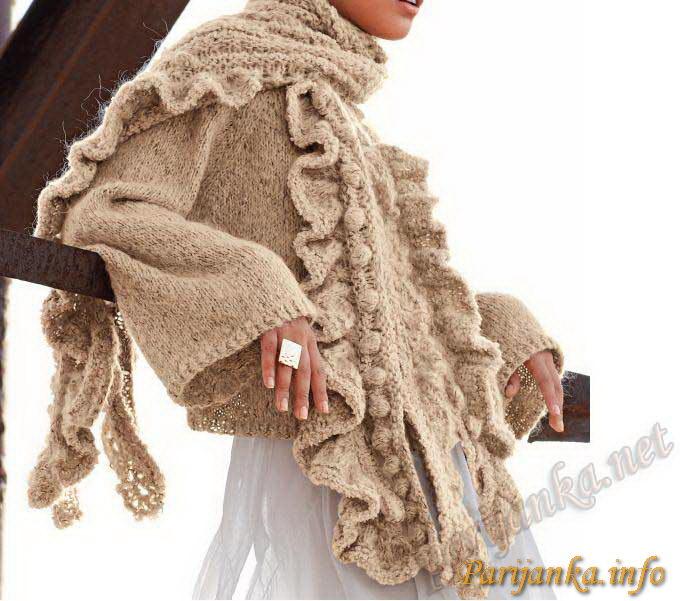 Куртка трапеция и шарф (ж)