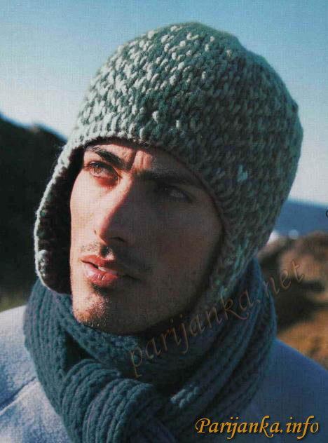 вязаная шапка ушанка мужская.
